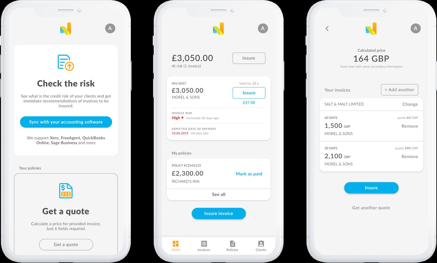 Nimbla mobile application mockups set