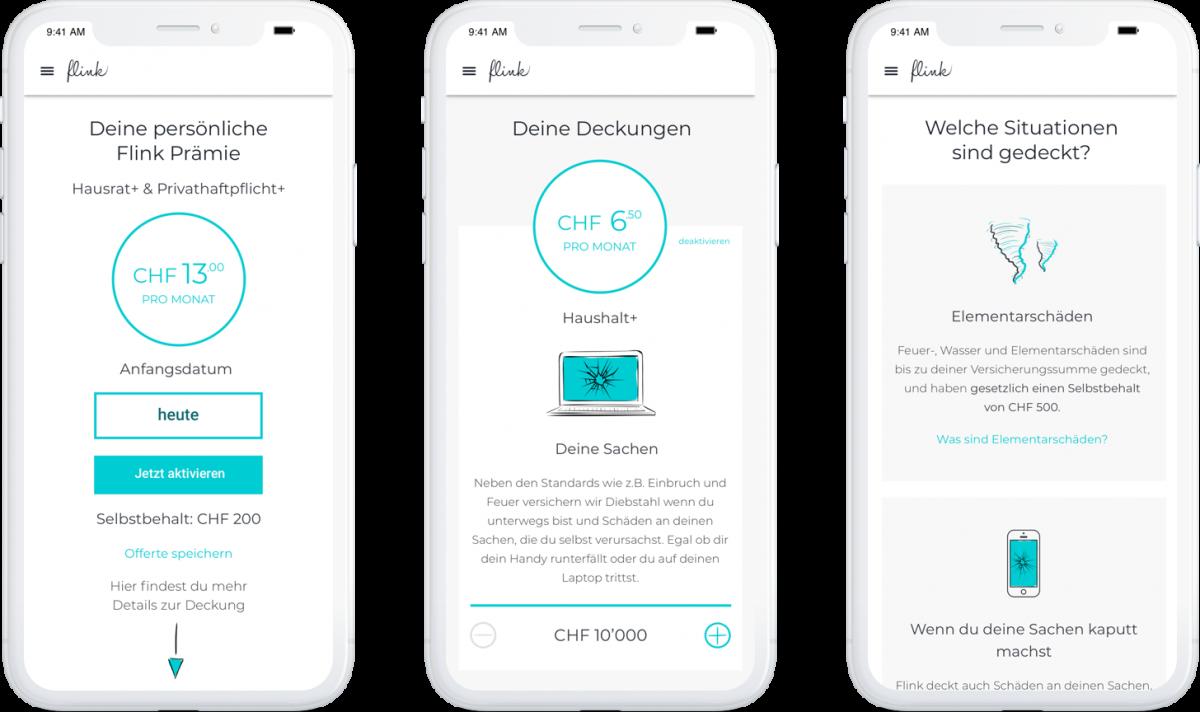 Flink mobile application mockups set