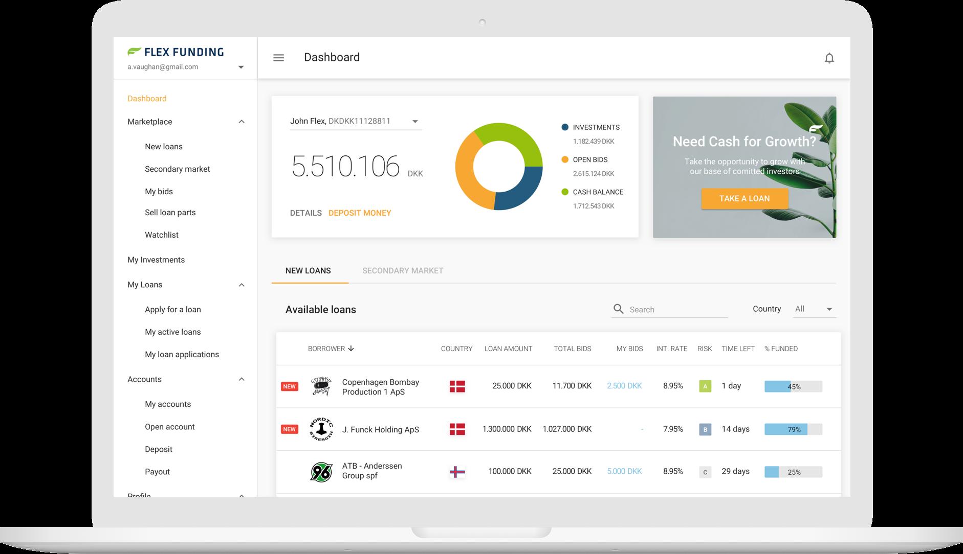 Flex Funding user dashboard