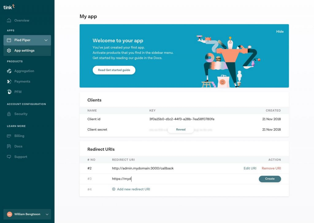 Tink open banking app
