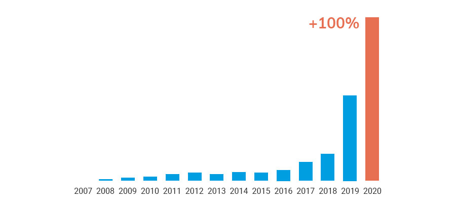 Total growth of Code & Pepper in 2020