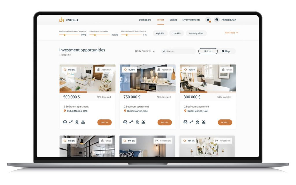 United4 Design - Invest page view